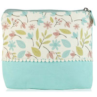 Shruti - Shruti Wash Bag - Blue Embroidered Dotty Lace