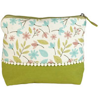 Shruti - Shruti Wash Bag - Green Embroidered Dotty Lace